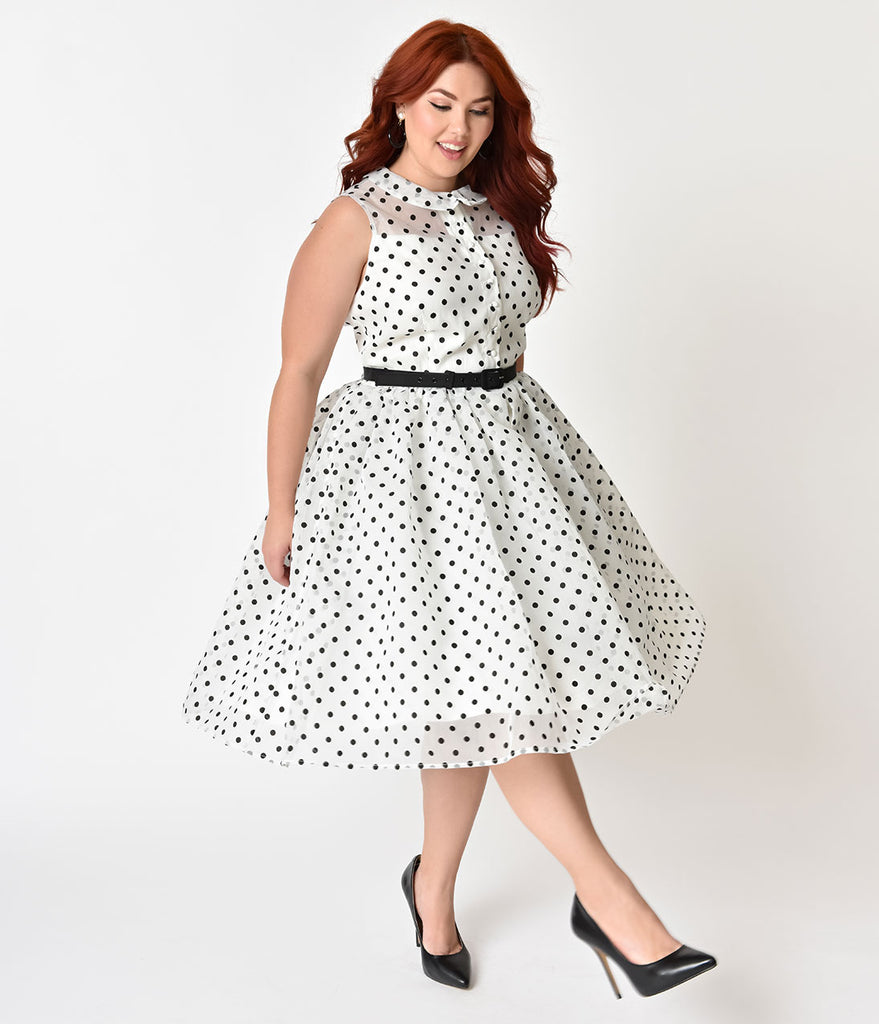 Unique Vintage Plus Size 1950s Style White & Black Dotted Organza Georgia Swing Dress