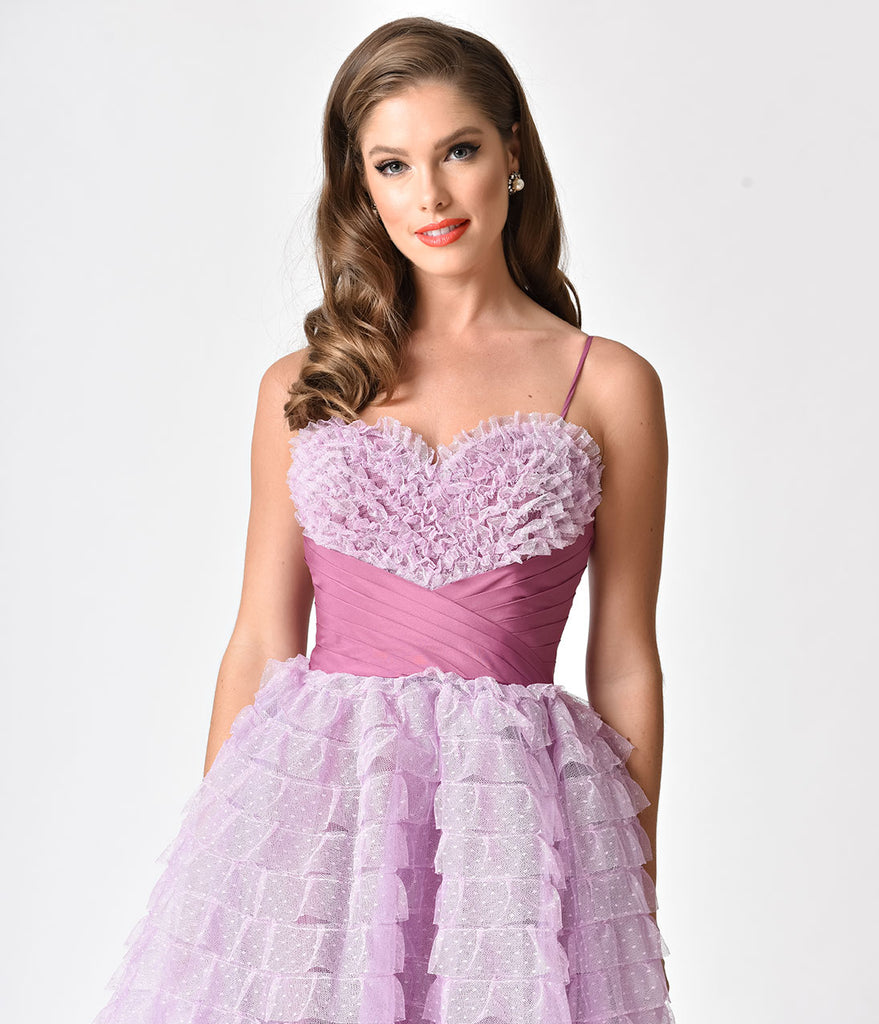 Unique Vintage 1950s Lavender Ruffled Tulle Sweetheart Cupcake Swing Dress