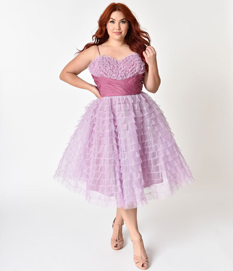 Unique Vintage Plus Size 1950s Lavender Ruffled Tulle Sweetheart Cupcake Swing Dress
