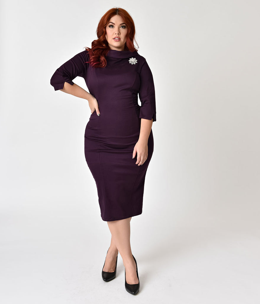 Unique Vintage Plus Size 1960s Eggplant Stretch Sleeved Lucinda Wiggle