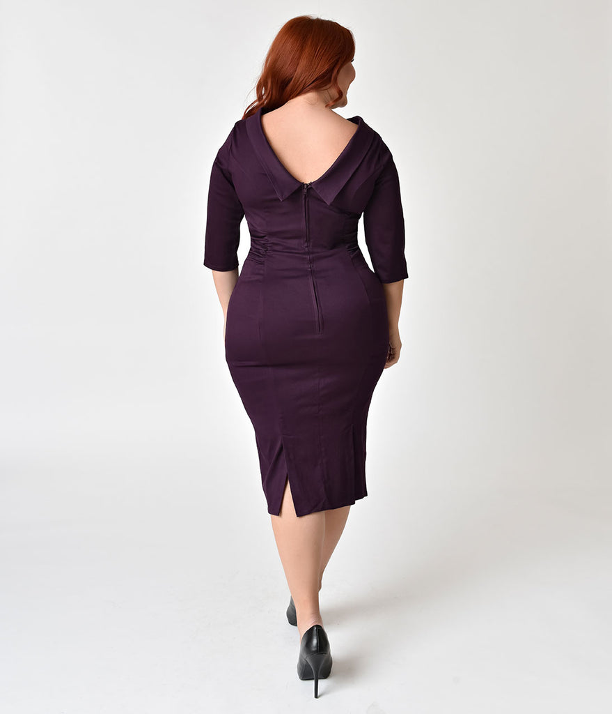 Unique Vintage Plus Size 1960s Eggplant Stretch Sleeved Lucinda Wiggle Dress