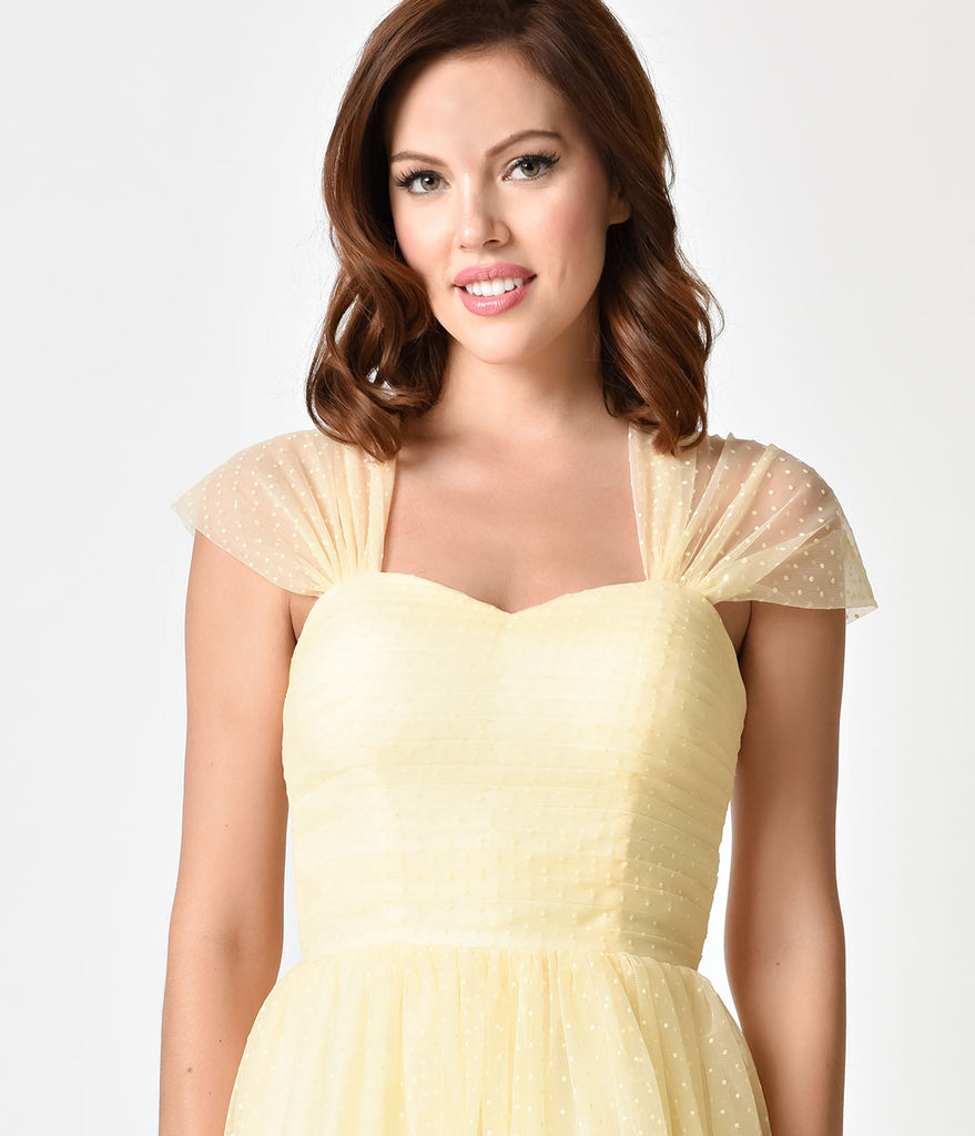 Unique Vintage Buttercup Yellow Swiss Dot Garden State Mesh Cocktail Dress