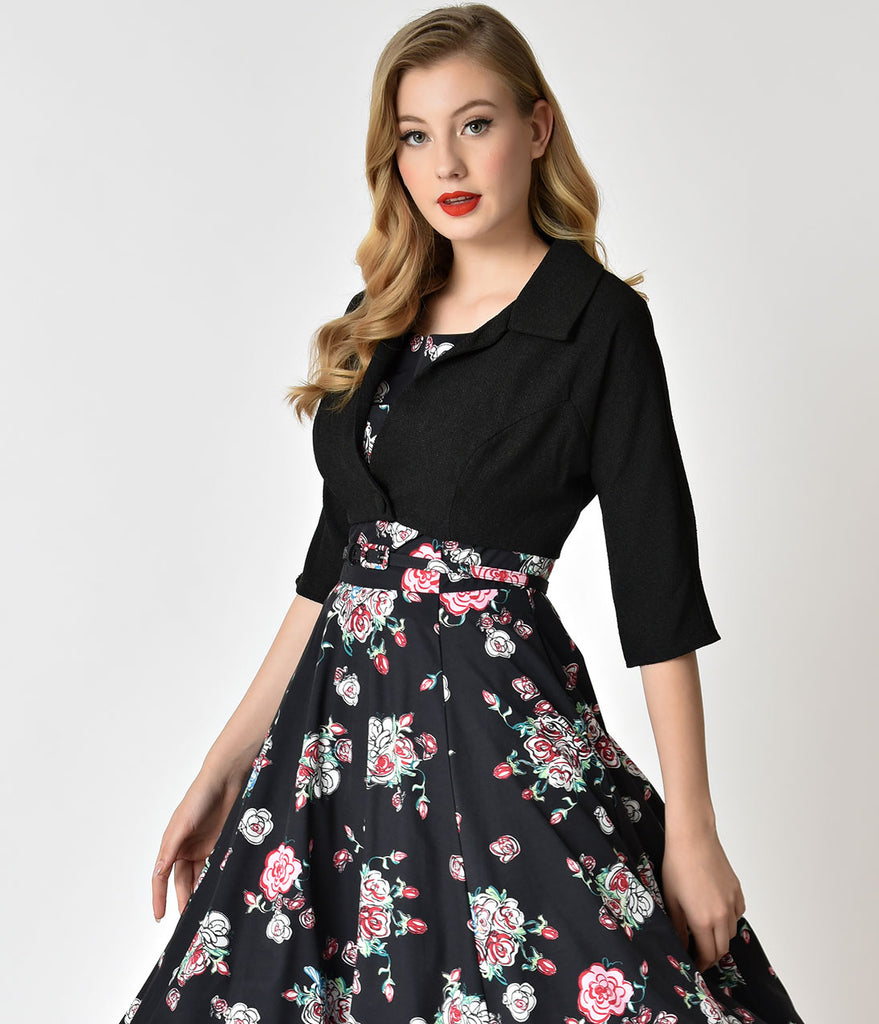 Unique Vintage 1960s Style Black & Roses Bouquets Print Harriet Swing Dress