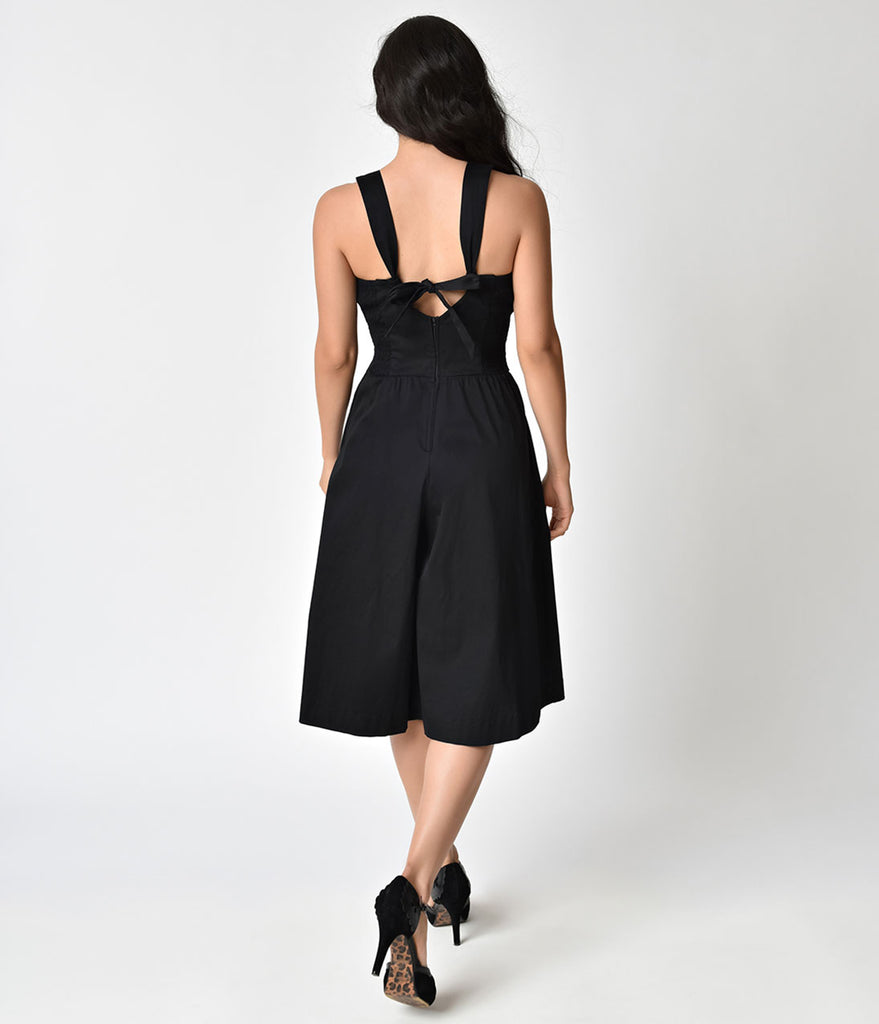 Unique Vintage 1950s Style Black Wide Leg Promenade Jumpsuit