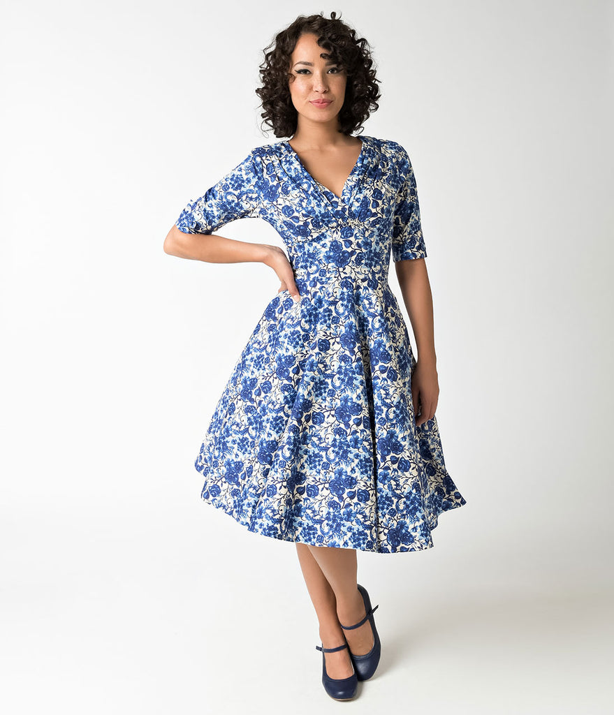 Unique Vintage 1950s Rococo Blue Floral Delores Swing Dress with Sleeves