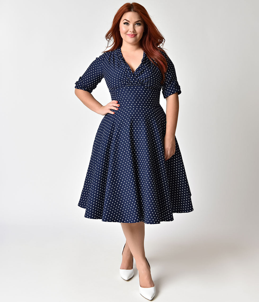 1950s Dresses, 50s Dresses | 1950s Style Dresses 1950S Navy  White Dot Delores Swing Dress With Sleeves $92.00 AT vintagedancer.com