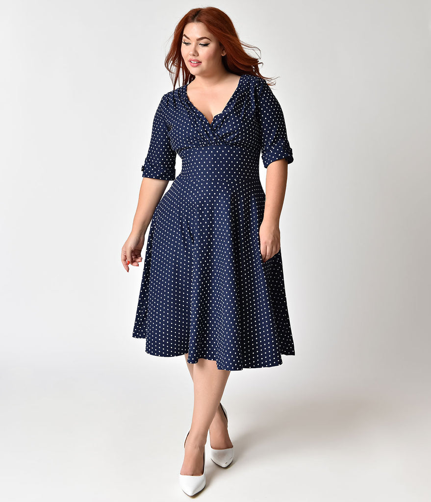 Unique Vintage Plus Size 1950s Navy & White Dot Delores Swing Dress with Sleeves