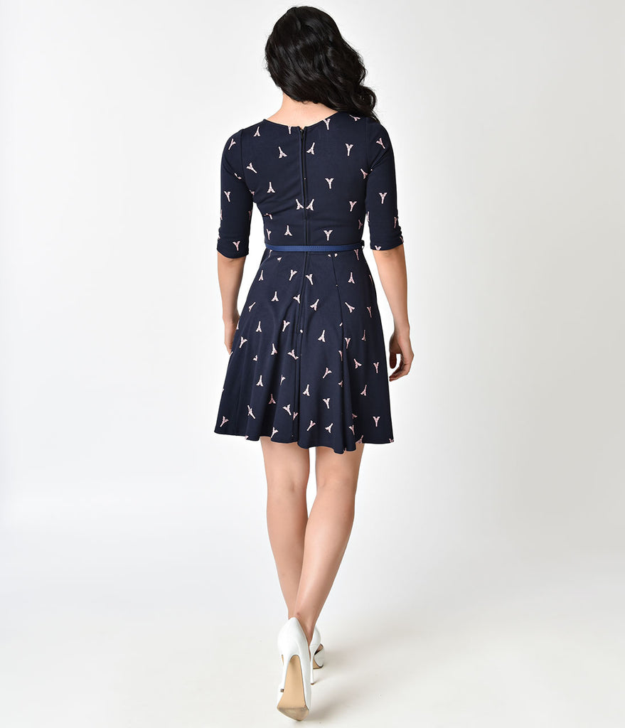 Unique Vintage Navy Blue & Pink Eiffel Tower Knit Flare Dress