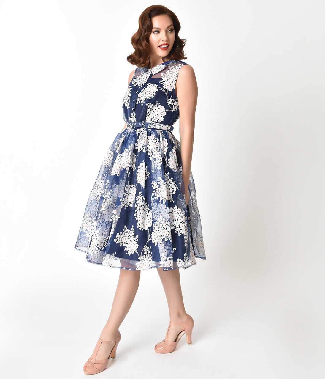 Pin Up Dresses | Pin Up Clothing Unique Vintage 1950S Style Blue  White Floral Organza Georgia Swing Dress $110.00 AT vintagedancer.com