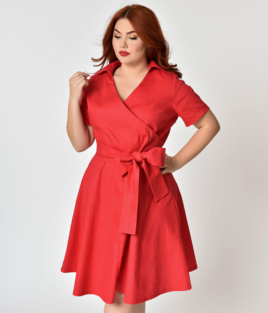 1f894b23a4d plus-size-1940s-style-red-cotton-short-sleeves-