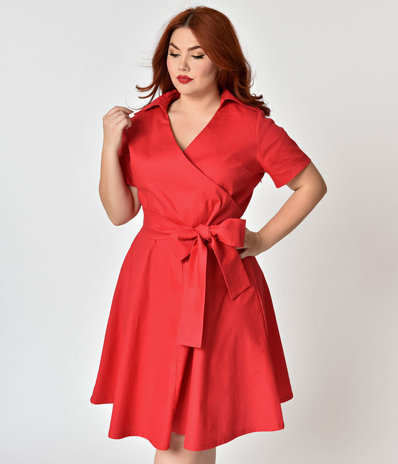 Plus Size 1940s Style Red Cotton Short Sleeves Swing Dress