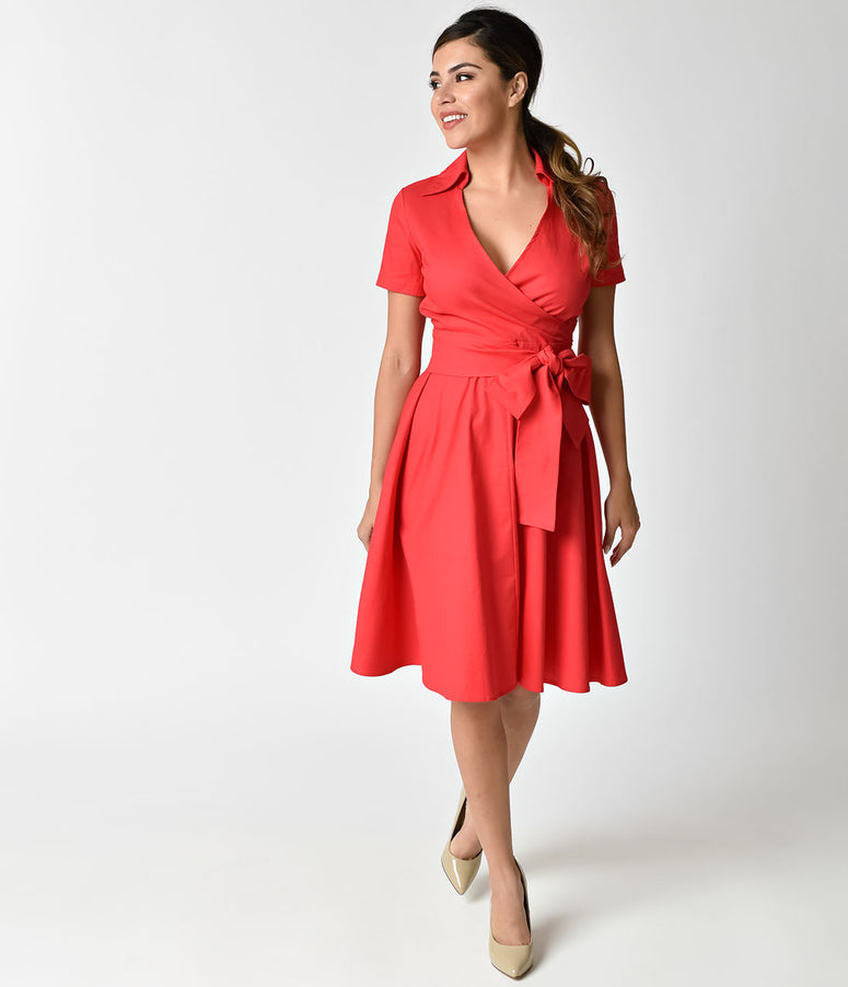 1940s Style Red Cotton Short Sleeves Swing Dress