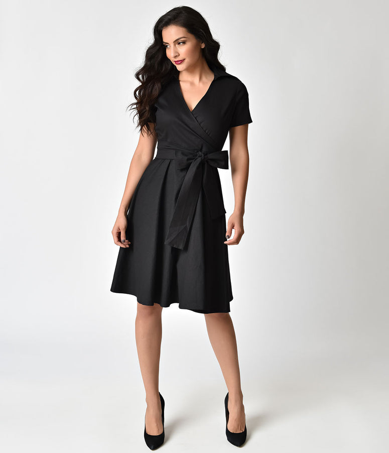 1940s Style Black Cotton Short Sleeves Swing Dress