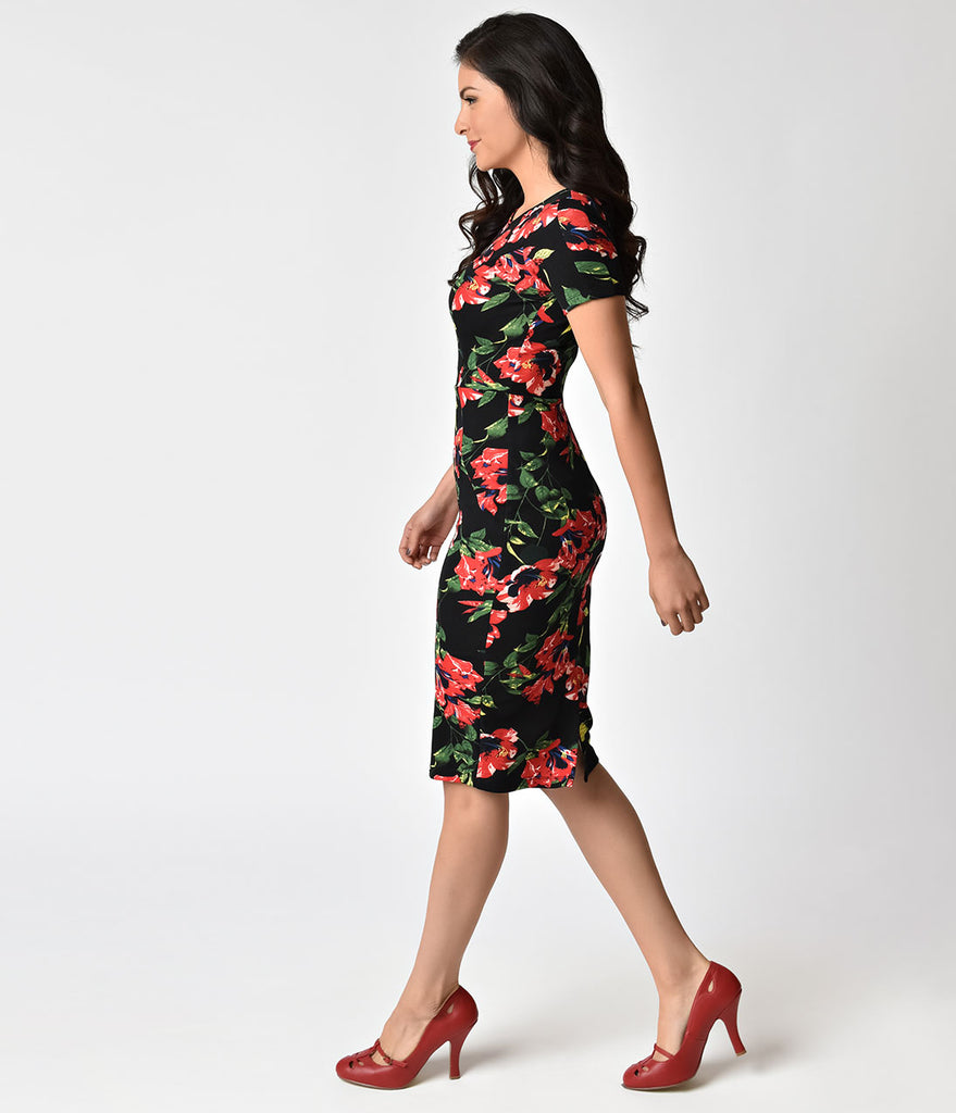 Unique Vintage 1960s Style Black & Red Floral Short Sleeve Stretch Mod Wiggle Dress
