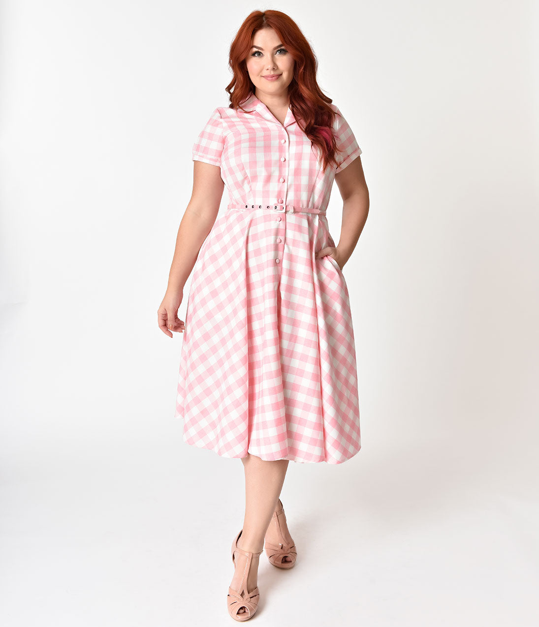 1950s Plus Size Fashion & Clothing History Unique Vintage Plus Size 1950S Style Light Pink  White Gingham Alexis Swing Dress $98.00 AT vintagedancer.com