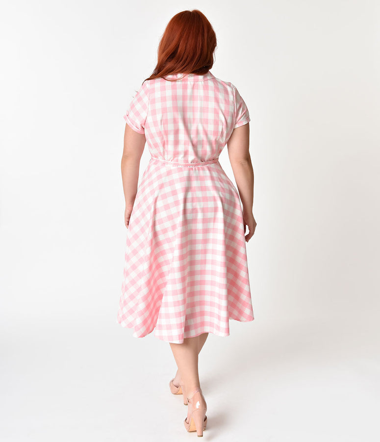 Unique Vintage Plus Size 1950s Style Light Pink & White Gingham Alexis Swing Dress