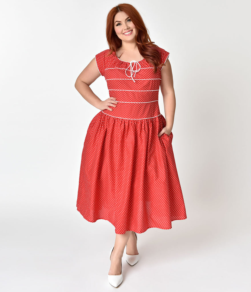Unique Vintage Plus Size 1940s Style Red & White Polka Dot Jeanie Swing Dress
