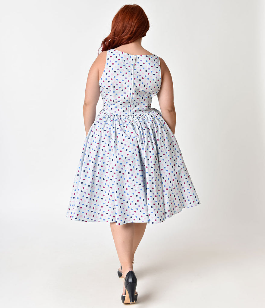 Unique Vintage Plus Size 1950s Light Blue & Multi Polka Dot Doheny Swing Dress