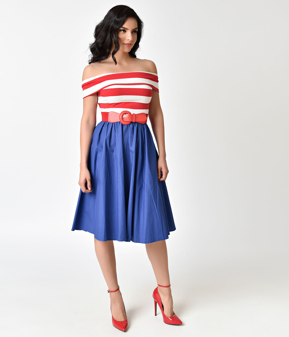 Vintage 50s Dresses: 8 Classic Retro Styles Red  White Stripe Off Shoulder  Blue Nautical Swing Dress $68.00 AT vintagedancer.com
