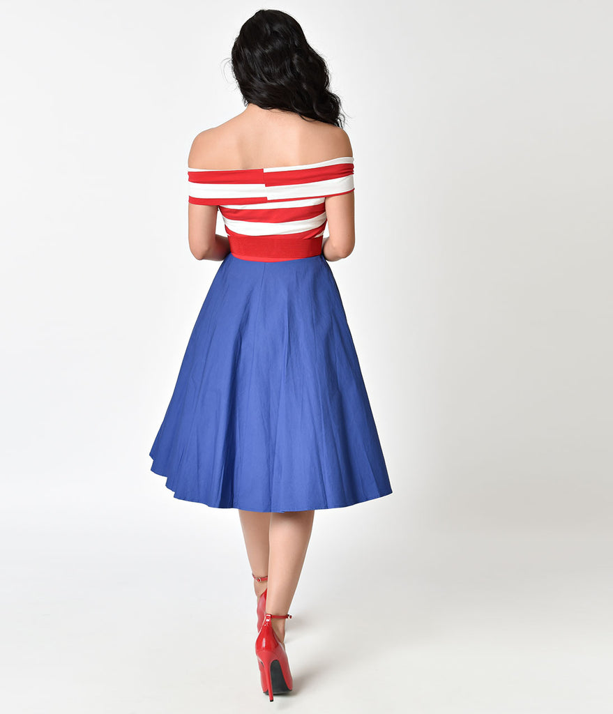 Red & White Stripe Off Shoulder & Blue Nautical Swing Dress