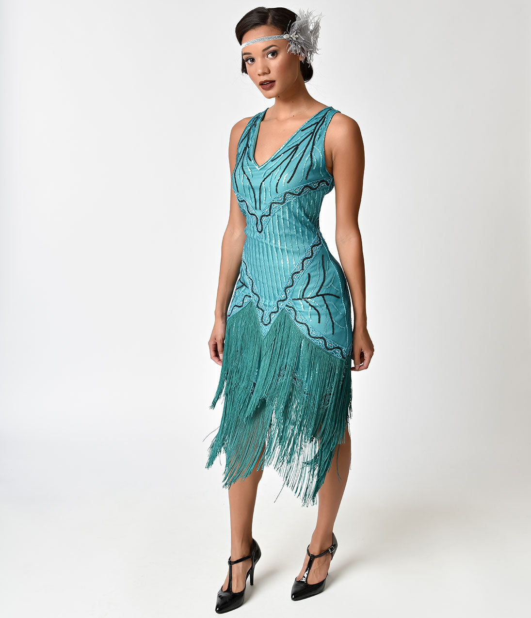 Roaring 20s Costumes- Flapper Costumes, Gangster Costumes 1920S Style Teal Beaded  Fringe Fosse Flapper Dress $63.00 AT vintagedancer.com