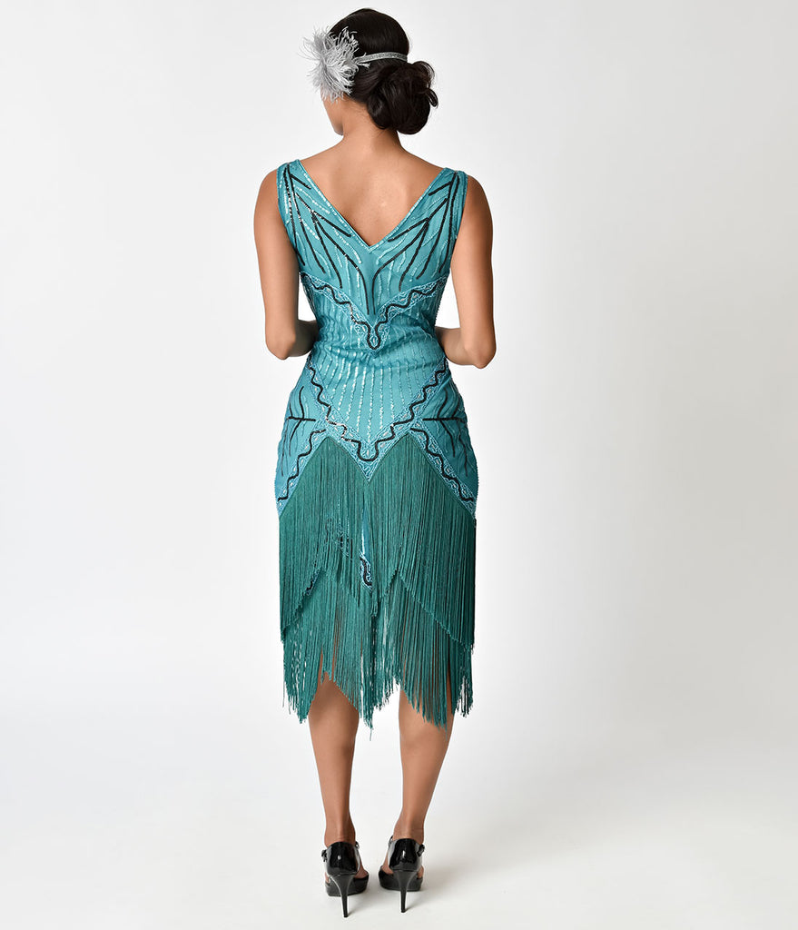 Unique Vintage 1920s Style Teal Beaded & Fringe Fosse Flapper Dress