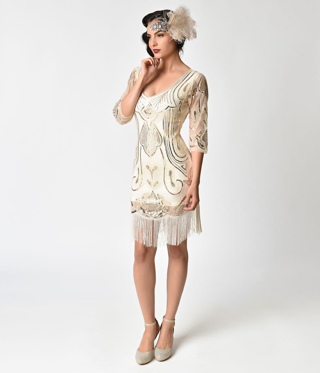 1920s Style Dresses, Flapper Dresses Unique Vintage Ivory  Gold Sequin Margaux Sleeved Fringe Flapper Dress $98.00 AT vintagedancer.com
