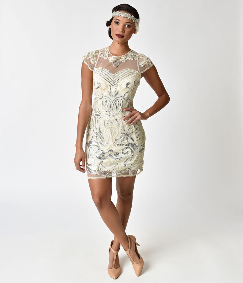 Unique Vintage 1920s Ivory & Silver Sequin Montaigne Cocktail Dress
