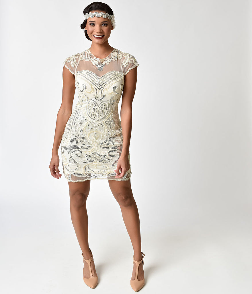Silver Cocktail Dress with Sleeves