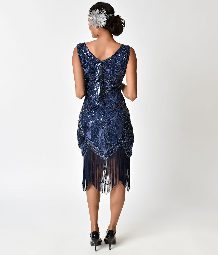 Unique Vintage Navy Blue Beaded Des Rosiers Fringe Flapper Dress