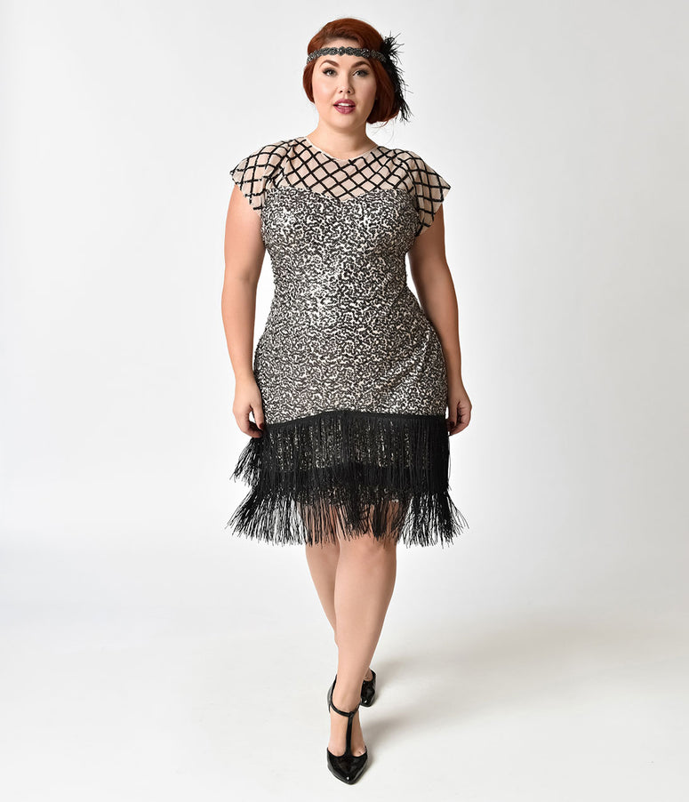 Unique Vintage Plus Size 1920s Champagne & Black Sequin Fringe Del Mar Flapper Dress