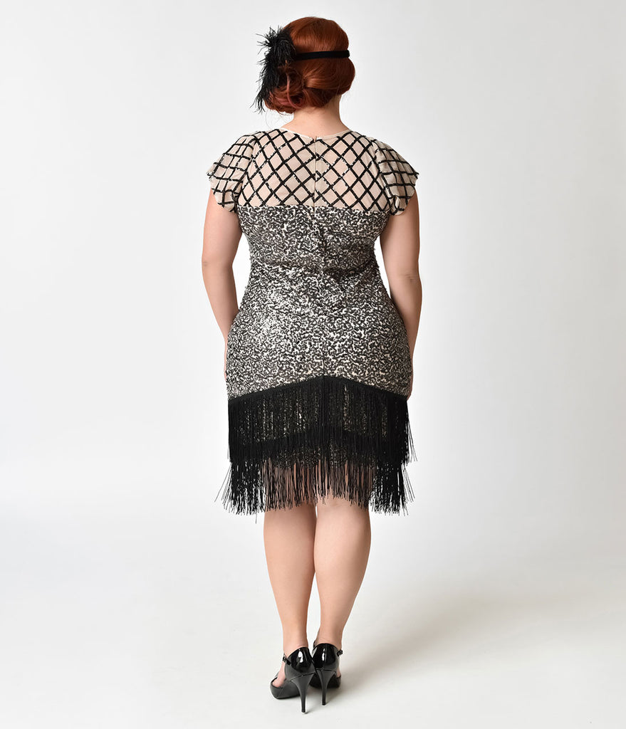 unique vintage plus size 1920s champagne black sequin fringe del mar