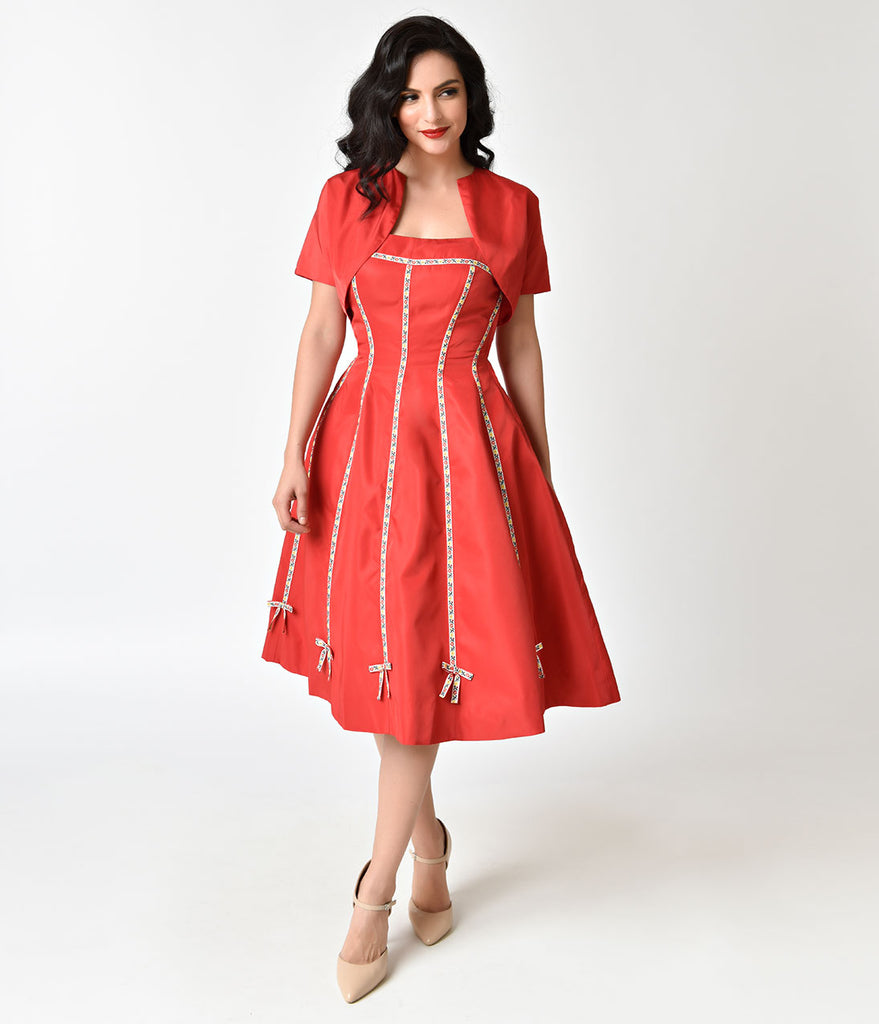 Unique Vintage 1940s Style Red Strapless