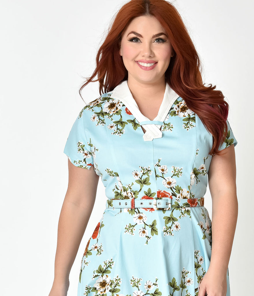 Unique Vintage Plus Size 1940s Light Blue Floral Short Sleeve Campbell Swing Dress