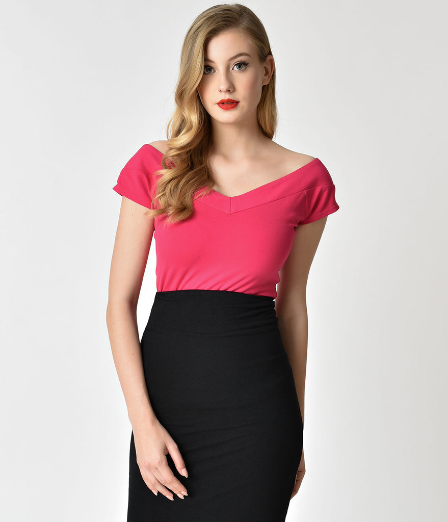 Unique Vintage 1950s Hot Pink Stretch Knit Cap Sleeve Deena Top