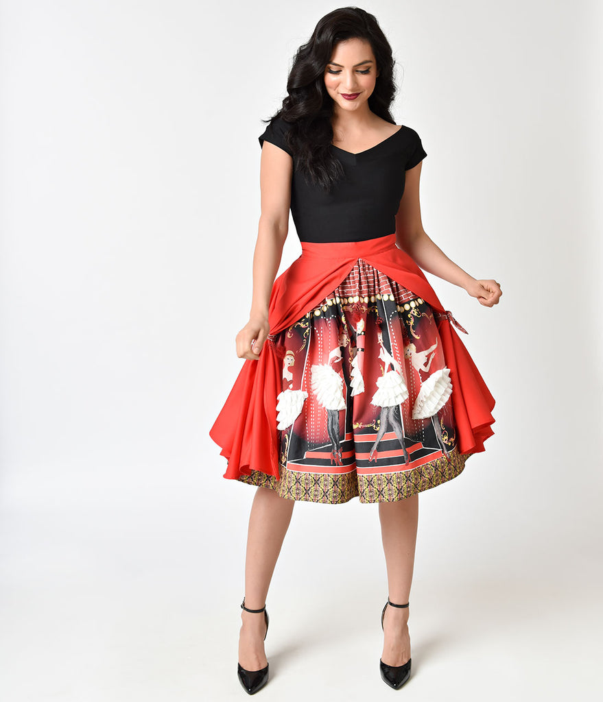 Unique Vintage 1950s Style The Moulin Rouge High Waist Swing Skirt