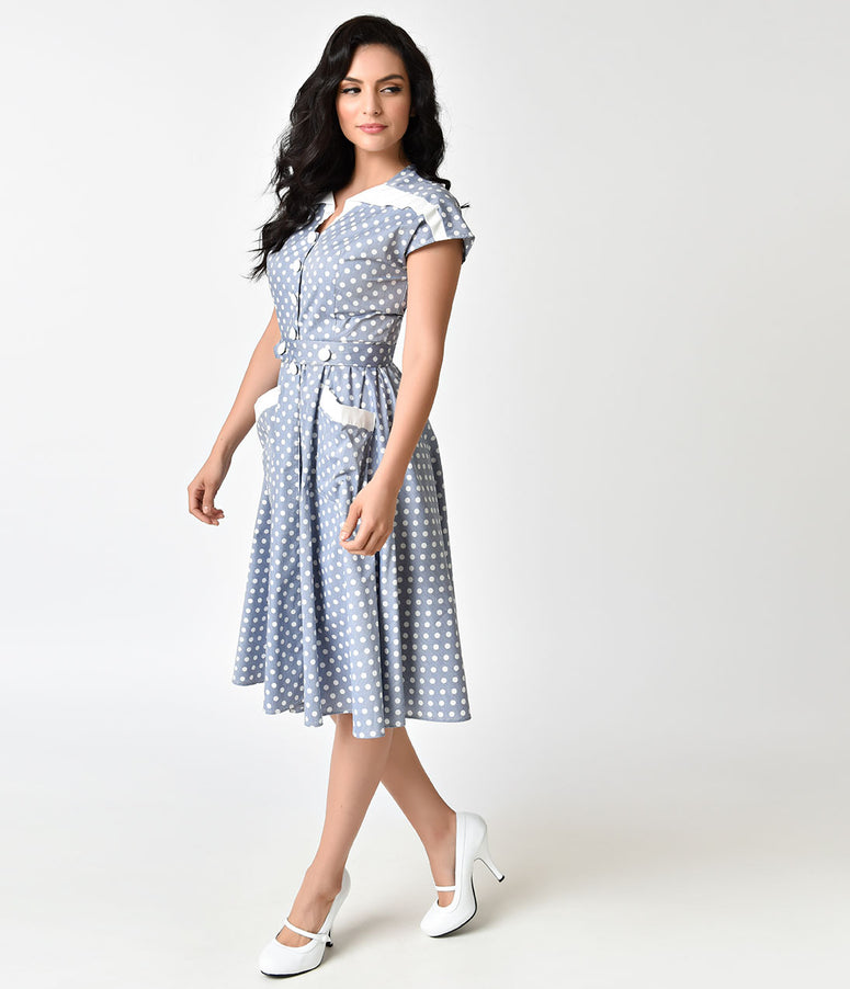 Unique Vintage 1950s Light Blue & Ivory Dotted Cap Sleeve Hedda Swing Dress