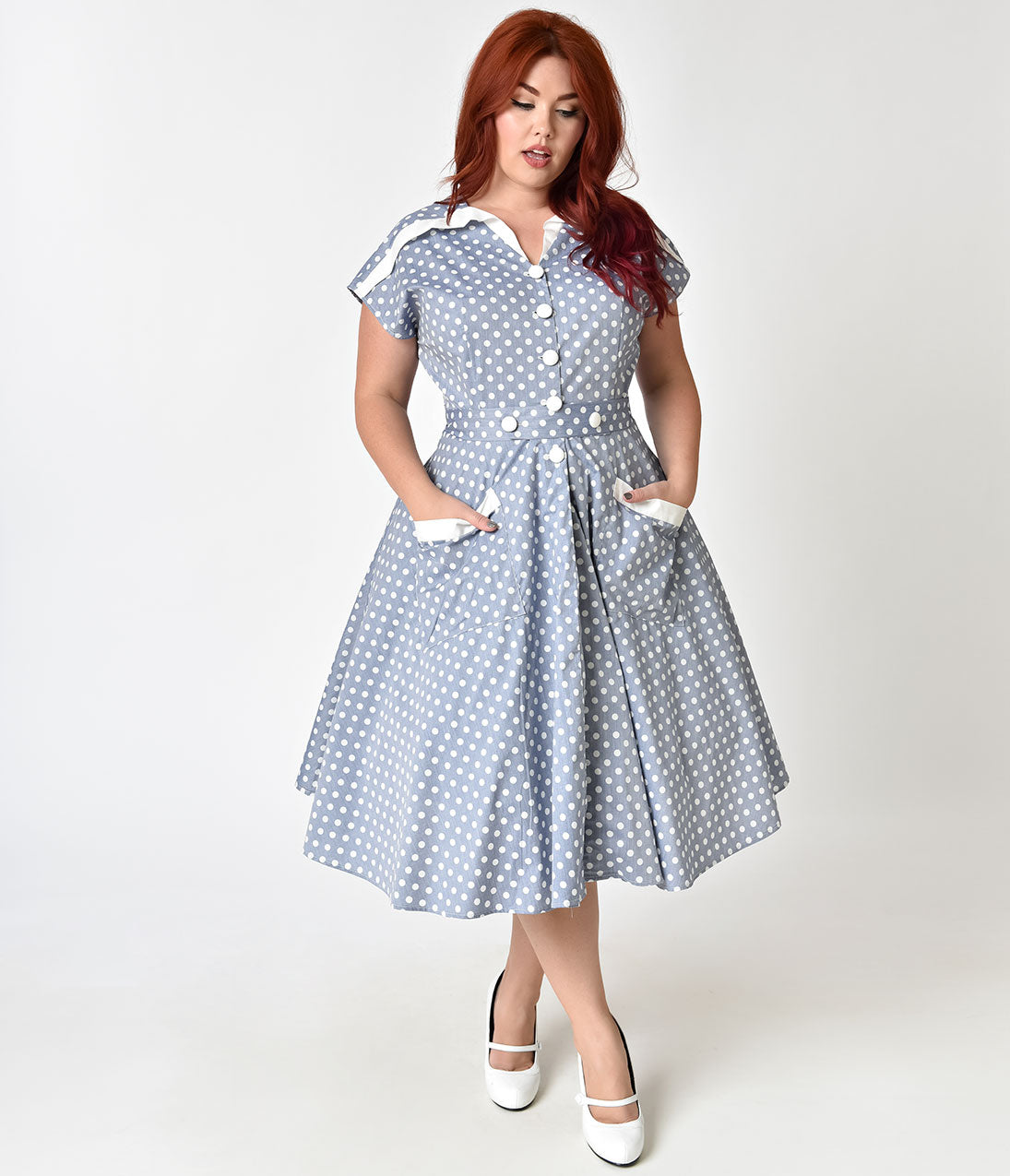 Polka Dot Dresses: 20s, 30s, 40s, 50s, 60s Unique Vintage Plus Size 1950S Light Blue  Ivory Dotted Cap Sleeve Hedda Swing Dress $71.00 AT vintagedancer.com
