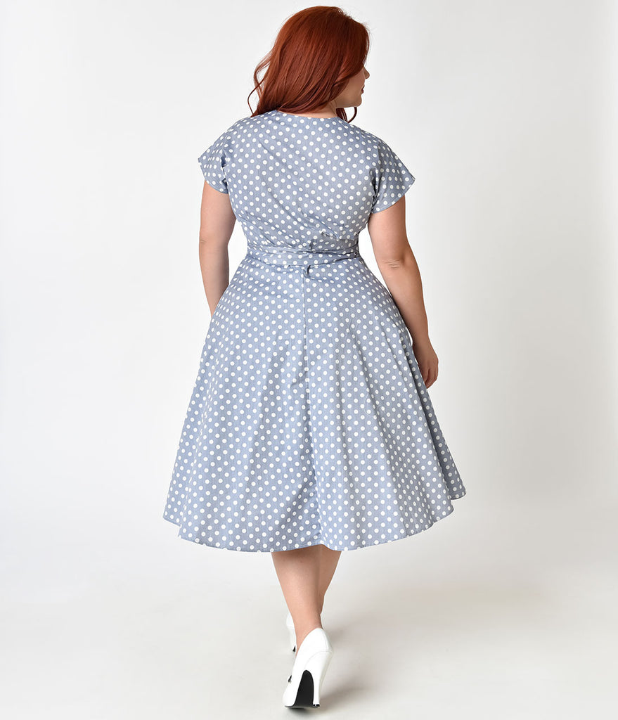 Unique Vintage Plus Size 1950s Light Blue & Ivory Dotted Cap Sleeve Hedda Swing Dress