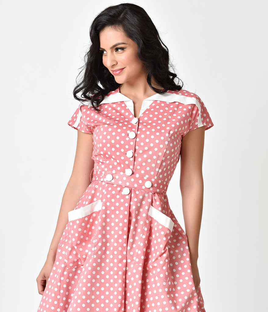 Unique Vintage 1950s Light Red & Ivory Dotted Cap Sleeve Hedda Swing Dress