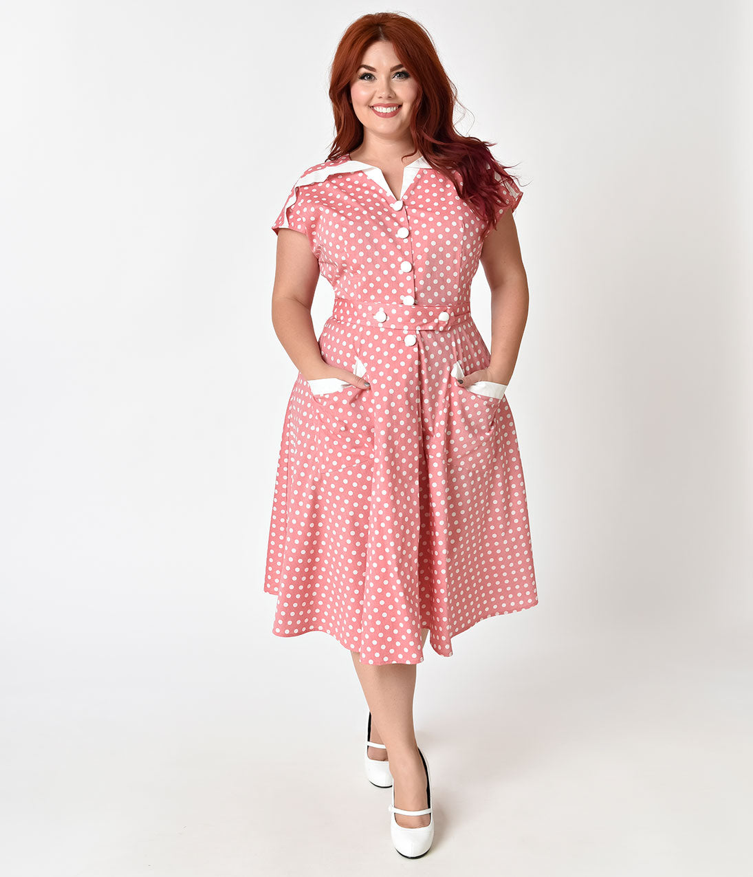 Polka Dot Dresses: 20s, 30s, 40s, 50s, 60s Unique Vintage Plus Size 1950S Light Red  Ivory Dotted Cap Sleeve Hedda Swing Dress $71.00 AT vintagedancer.com