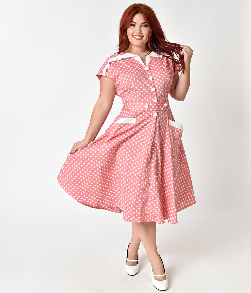 Unique Vintage Plus Size 1950s Light Red & Ivory Dotted Cap Sleeve Hedda Swing Dress