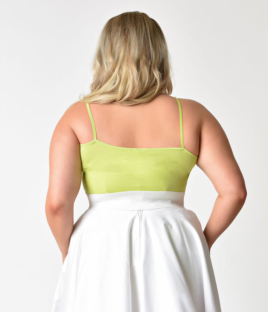 Plus Size Lime Green Spaghetti Strap Cotton Camisole