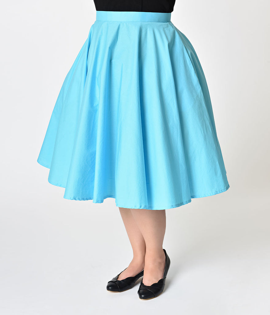 Plus Size 1950s Style Turquoise Blue Cotton Swing Skirt
