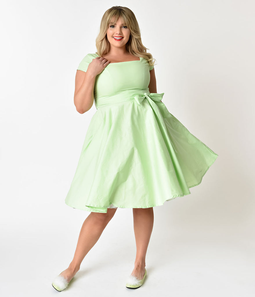 Plus Size Retro Style Lime Green Cap Sleeve Anna Swing Dress