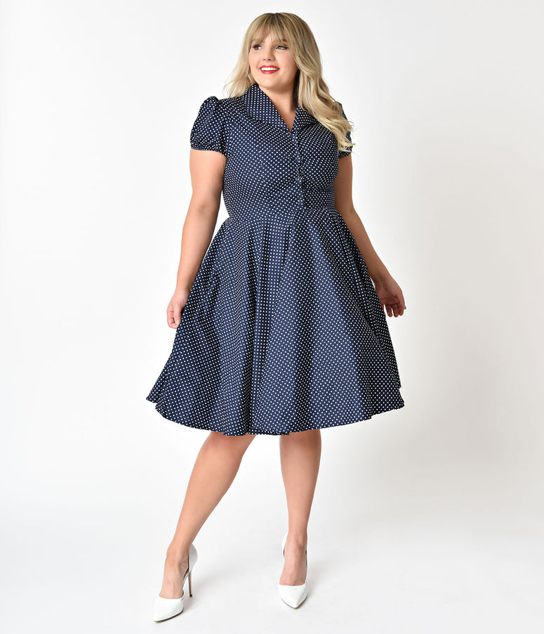 1950s Style Plus Size Navy & White Polka Dot Short Sleeve Mona Swing Dress