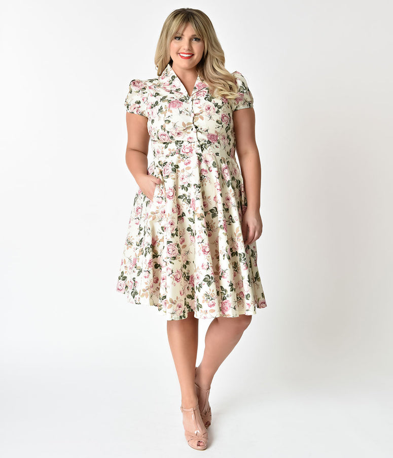 1950s Style Plus Size Antique Ivory & Vintage Rose Short Sleeve Mona Swing Dress