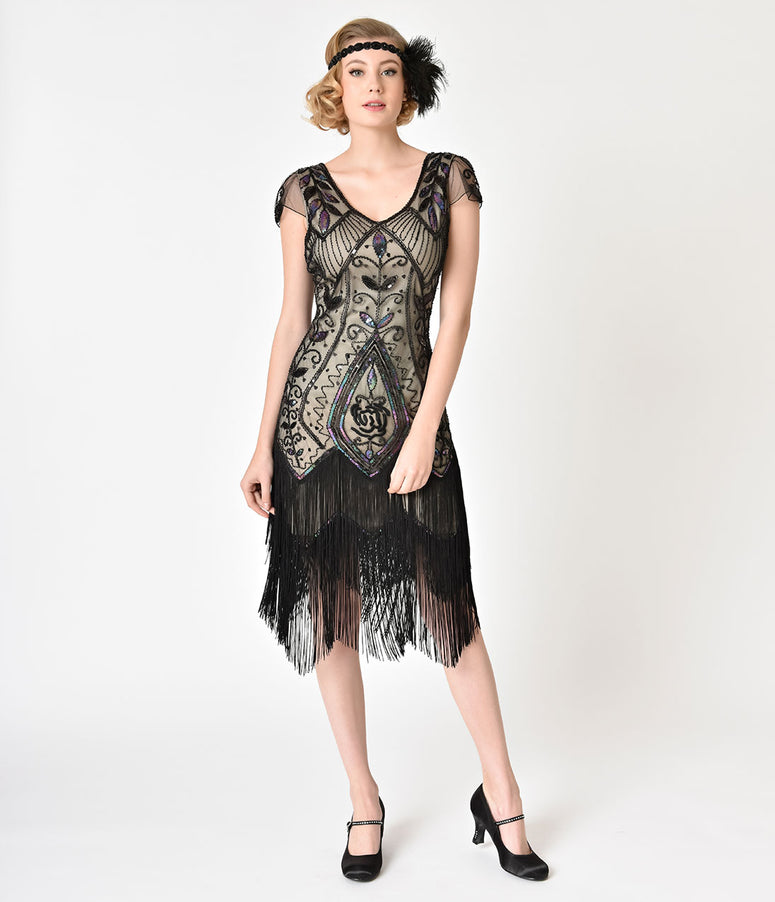 Unique Vintage 1920s Black Rose & Champagne Noele Fringe Flapper Dress
