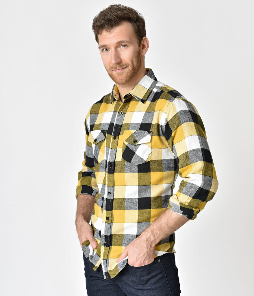 Yellow & White Plaid Flannel Long Sleeve Button Down Shirt