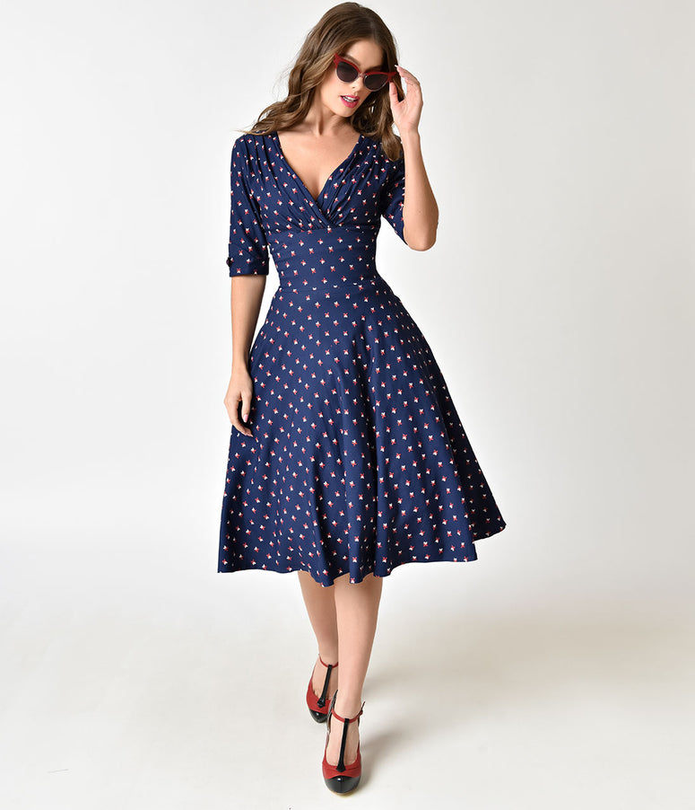 Unique Vintage 1950s Navy & Windmill Print Delores Swing Dress with Sleeves